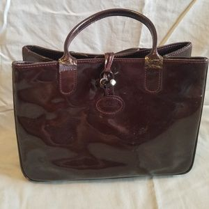 Longchamp Patent Leather Handbag Deep Wine Bag